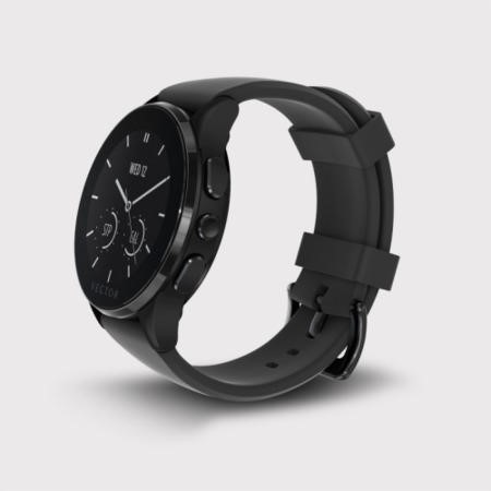 Vector Luna Unisex Smart Watch - Black Case with Black Silicone Band