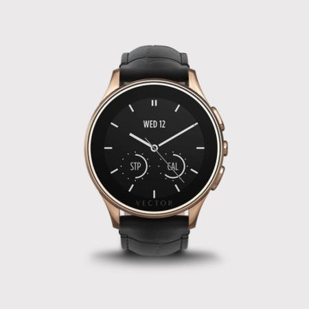 Vector Luna Smart Watch - Rose Gold Case with Black Crocodile Strap