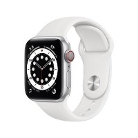 Apple Watch Series 6 GPS + Cellular - 40mm Silver Aluminium Case with White Sport Band - Regular