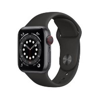 Apple Watch Series 6 GPS + Cellular - 40mm Space Gray Aluminium Case with Black Sport Band - Regular