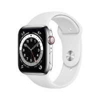 Apple Watch Series 6 GPS + Cellular - 44mm Silver Stainless Steel Case with White Sport Band - Regular