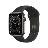 Apple Watch Series 6 GPS + Cellular - 44mm Graphite Stainless Steel Case with Black Sport Band - Regular