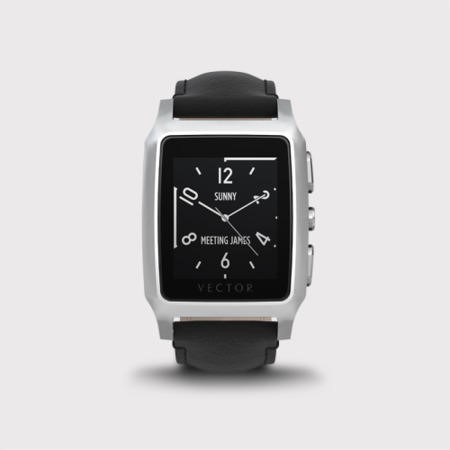 Vector Meridian Smart Watch - Steel Silver Case with Black Leather Strap