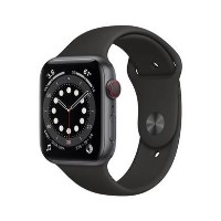 Apple Watch Series 6 GPS + Cellular - 44mm Space Grey Aluminium Case with Black Sport Band - Regular
