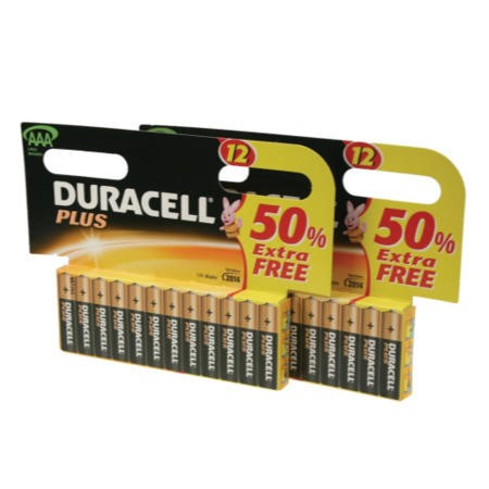Duracell Plus AAA Battery 12 x 2 Pack