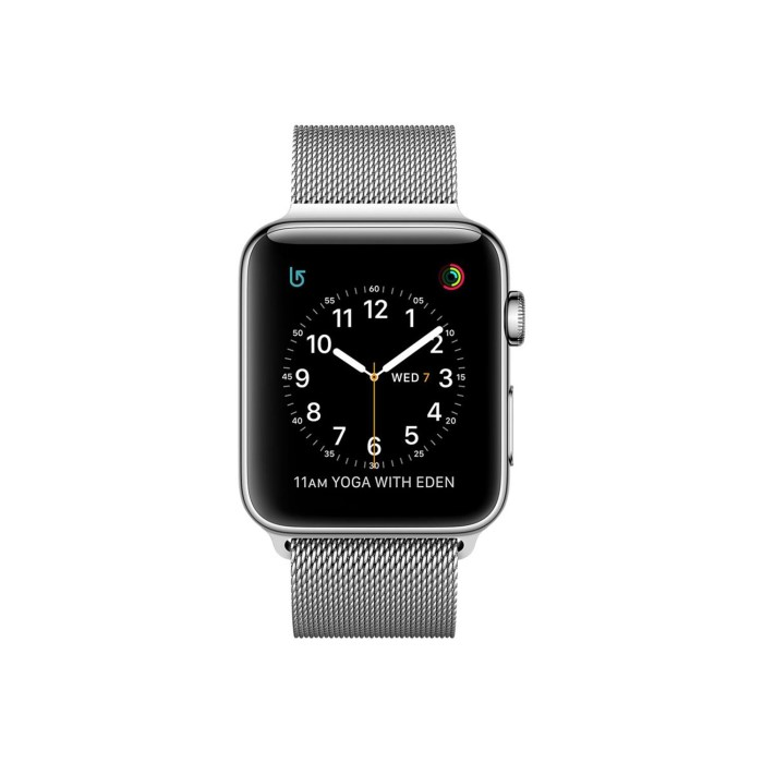 Apple Watch 2 38mm Stainless Steel Case Silver Milanese Loop