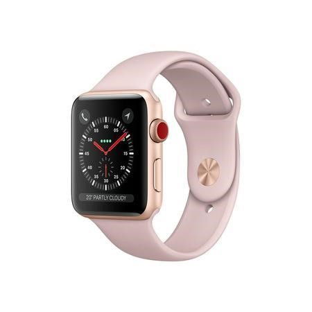 MQKP2B/A Apple Watch Sport Series 3 GPS + Cellular 42mm Gold Aluminium Case with Pink Sand Sport Band