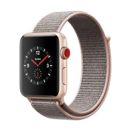 MQKT2B/A Apple Watch Sport Series 3 GPS + Cellular 42mm Gold Aluminium Case with Pink Sand Sport Loop