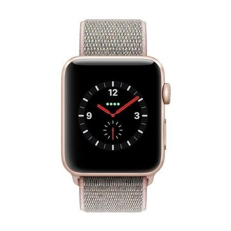 Apple Watch Sport Series 3 GPS + Cellular 42mm Gold Aluminium Case with Pink Sand Sport Loop