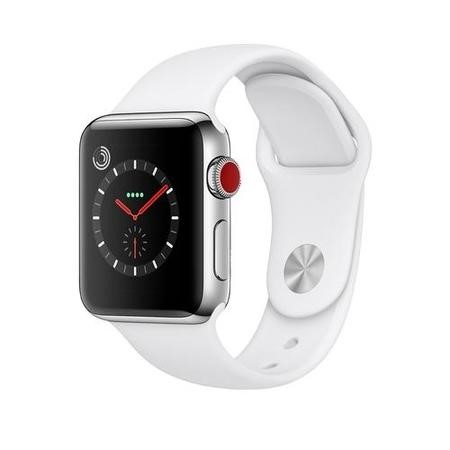 MQLV2B/A Apple Watch Series 3 GPS + Cell 38mm Stainless Steel Case with Soft White Sport Band