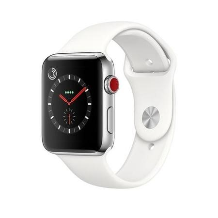 MQLY2B/A Apple Watch Series 3 GPS + Cell 42mm Stainless Steel Case with Soft White Sport Band