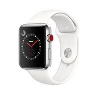 Apple Watch Series 3 GPS + Cell 42mm Stainless Steel Case with Soft White Sport Band