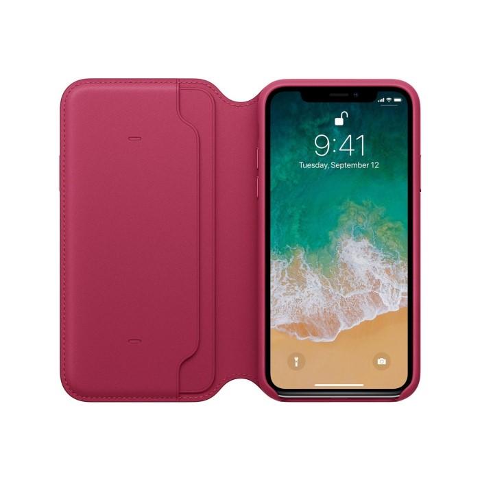 sale retailer 3dc2f 5dca5 Apple iPhone X Leather Folio - Berry
