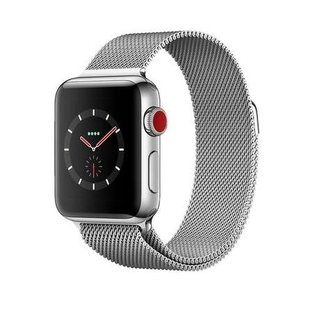 MR1N2B/A Apple Watch Series 3 GPS + Cell 38mm Stainless Steel Case with Milanese Loop