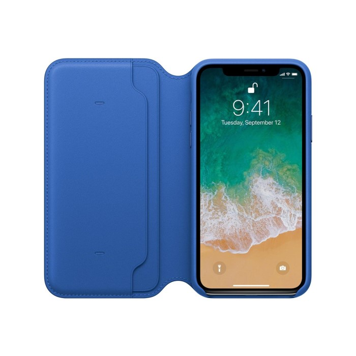 new product b9556 8375a Apple iPhone X Leather Folio Case - Electric Blue