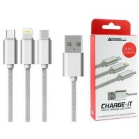Charge-It 3-in-1 USB Cable - Lightning/USB-C/Micro-USB - 1.2M - Silver