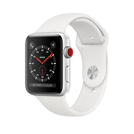 MTGN2B/A Apple Watch Series 3 GPS + Cellular 38mm Silver Aluminium Case with White Sport Band