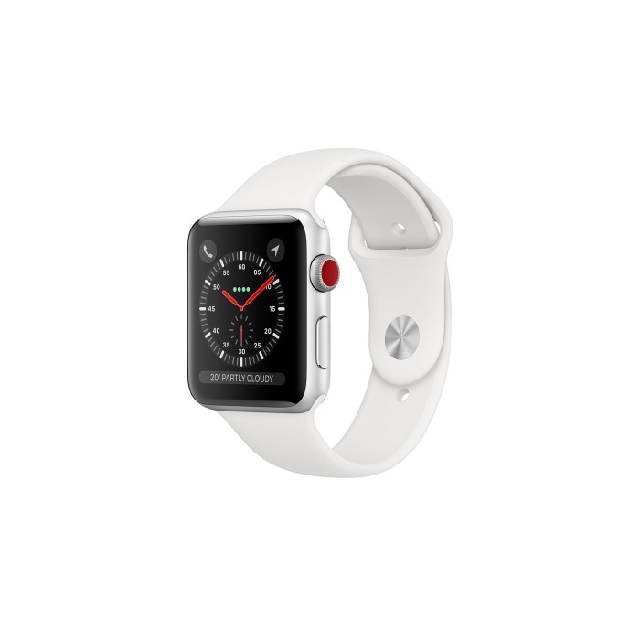 18f10c8e871 Apple Watch Series 3 GPS + Cellular 38mm Silver Aluminium Case with White  Sport Band MTGN2B A