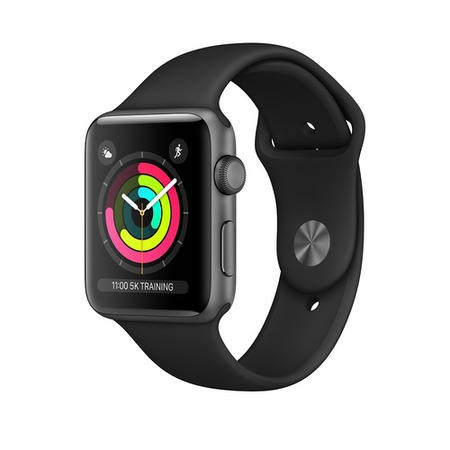 MTGP2B/A Apple Watch Series 3 GPS + Cellular 38mm Space Grey Aluminium Case with Black Sport Band