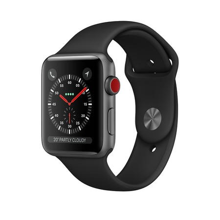 MTH22B/A Apple Watch Series 3 GPS + Cellular 42mm Space Grey Aluminium Case with Black Sport Band