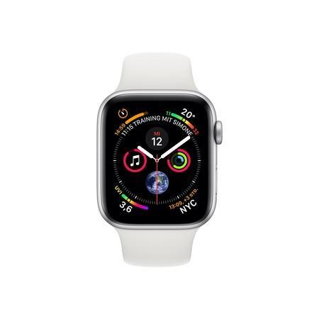 Apple Watch Series 4 GPS + Cellular 44mm Silver Aluminium Case with White Sport Band