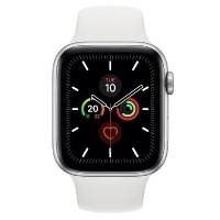 Apple Watch Series 5 GPS + Cellular 44mm Silver Aluminium Case with White Sport Band