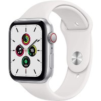Apple Watch SE GPS + Cellular - 44mm Silver Aluminium Case with White Sport Band - Regular