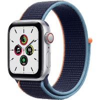 Apple Watch SE GPS + Cellular - 44mm Silver Aluminium Case with Deep Navy Sport Loop