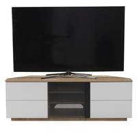 "UK-CF New Milan Oak/White TV Cabinet for up to 65"" TVs"
