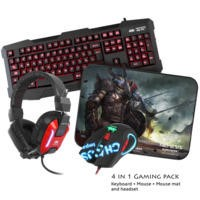 Sumvision - LED Gaming Keyboard Mouse Headset & Mouse Mat - Nemesis Kane Pro Edition 4 in 1 Chaos Pack