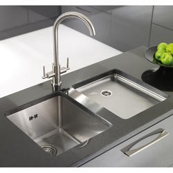 Astracast OXL2XBHOMEPK Onyx' Undermount Square Single Bowl Brushed Stainless Steel Sink with Tap Deck