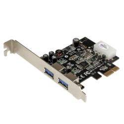 StarTech 2 Port PCI Express PCIe SuperSpeed USB 3.0 Card Adapter with UASP - LP4 Power