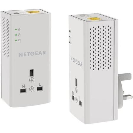 Netgear PLP1000 1000Mbps 1 Port Powerline Adapter - 2 Pack