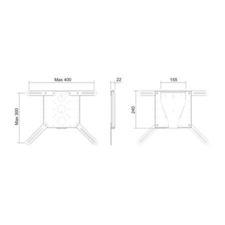 PMV Mount2040 Flat TV Mount - Up to 32 Inch