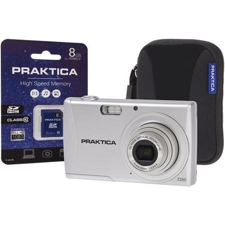 PRAKTICA Luxmedia Z250 Silver Camera Kit inc 8GB SDHC Class 10 Card & Case