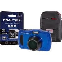 PRAKTICA Luxmedia WP240 Waterproof Compact Digital Camera + 8GB SD Card + Camera Case