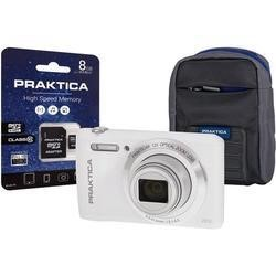 PRAKTICA Luxmedia Z212 Compact Digital Camera in White + 8GB SD Card + Camera Case