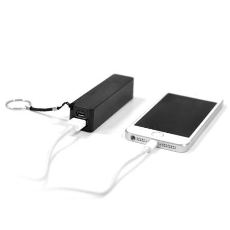 Dual USB 2600mAh Portable Power Bank In Black For iPhone iPad & Android phones