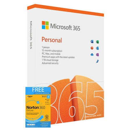 Microsoft Office 365 Personal 1 PC/Mac + 1 Tablet + Smartphone Electronic Download