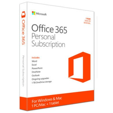 Microsoft Office 365 Personal 32/64 Bit EU Medialess - 1 PC/Mac + 1 Tablet + Smartphone