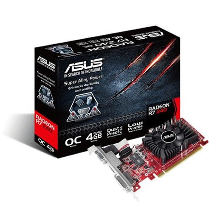 R7240-OC-4GD3-L Asus Radeon R7 240 OC 4GB Low Profile