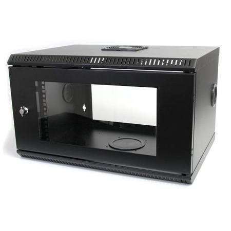 6U 19in Wall Mount Server Rack Cabinet w/ Vented Glass Door