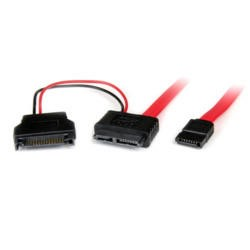 StarTech.com 0.5m Slimline SATA Female to SATA with SATA Power Cable Adapter
