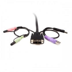 2 Port DVI  USB Cable KVM Switch with Audio