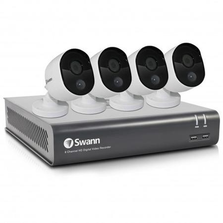 SWDVK-845804V-UK Swann CCTV System - 8 Channel 1080p DVR with 4 x 1080p HD Thermal Sensing Cameras & 1TB HDD - works with Google Assistant
