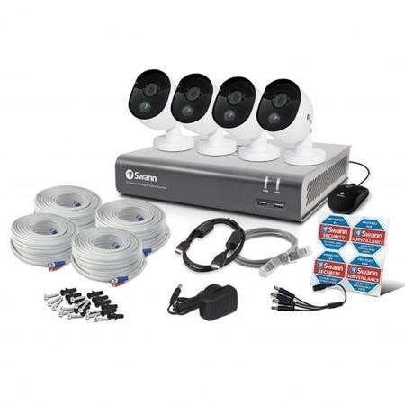 Swann CCTV System - 8 Channel 1080p DVR with 4 x 1080p HD Thermal Sensing Cameras & 1TB HDD - works with Google Assistant