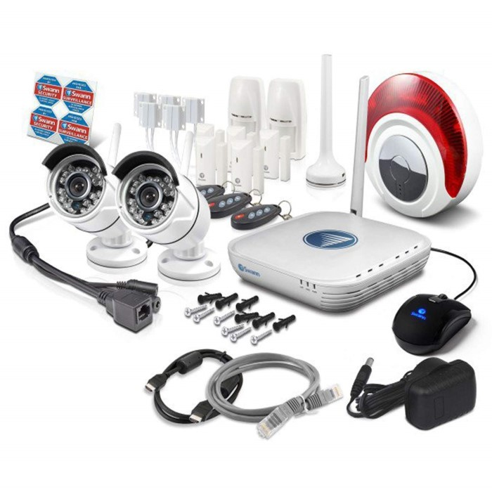 Swann SWNVA-460AH2 2 Camera Wireless IP High Definition CCTV Security  System HD 720p 7 Alarm sensors and Siren