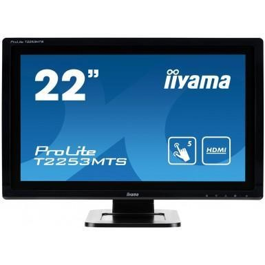 "Iiyama 22"" LED Monitor Multi-TouchSceen Black Bezel 1920 x 1080 16_9 1000_1 2 x 1W Built-In Speakers USB HDMI VGA D-Sub DVI-D VESA 100x100."