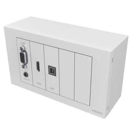 VISION TECHCONNECT V3 MODULE PACKAGE Includes mounting hardware_ UK Double-Gang Backbox UK Double-Gang Surround. Include modules_ 1 x VGA with 3.5mm socket 1 x HDMI 1 x USB-B B