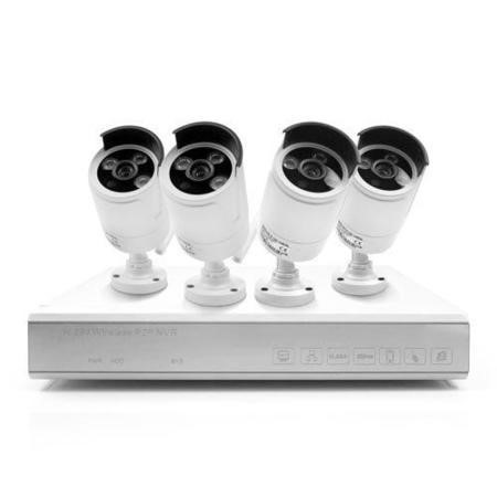 GRADE A2 - Light cosmetic damage - ElectrIQ 4 CH 1080p NVR 4 Wireless Bullet Cameras 1080p 30fpd/s 1TB Hard Drive